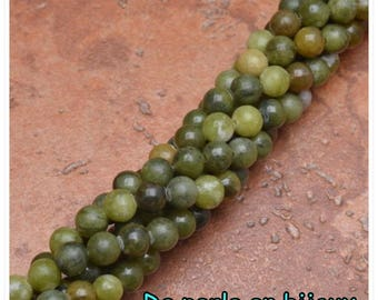10pc - Pearl green 6mm bead semi precious 6 mm African Jasper