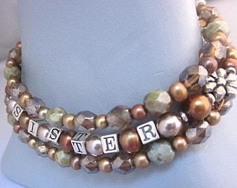 Sister 3 strand pearl, Czech glass bead & silver bracelet