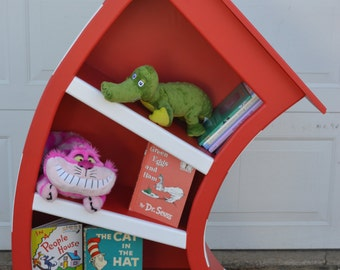 4 ft. Cat In The Hat Bookcase, Dr Seuss Bookshelf, Whimsical Bookcase, Alice in Wonderland Furniture, Dr Seuss Bookcase, Nursery Bookcase