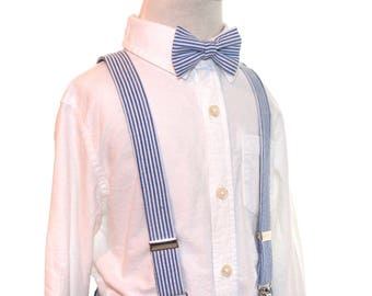 Navy Bow Tie and Suspenders Set navy blue seersucker suspenders and bow tie Navy and White Seersucker boys suspenders Boys Ties kids bowtie
