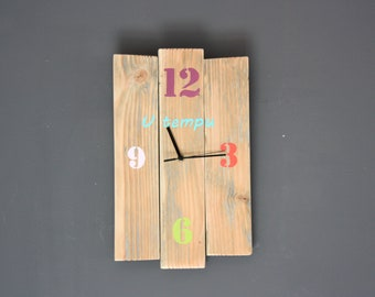 Nature wall clock and wood U time, Corsica, 100% upcycled sold color numbers