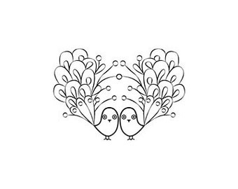 two peacocks in love rubber stamp wedding stamp