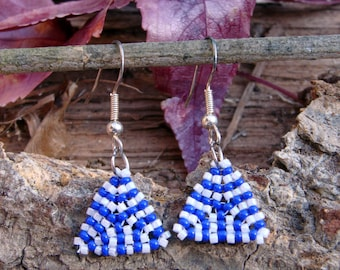Blue and white triangle seed bead earrings