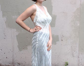 Vintage 1930's Dress // 30s Sheer Powder Blue and White Striped Bias Cut Lingerie Gown // Old Hollywood Slip Dress // Evening Party Dress