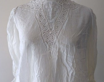 Antique Edwardian Victorian Battenburg Lace Pintuck Embroidered High Neck Blouse, 1800s, 1900s, Women's Top