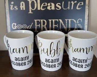 Personalized Mug - Calligraphy - Pregnancy Announcement - Bridal Party - Gift