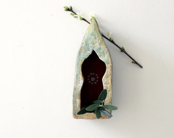 Shrine Cabinet   Rusty Red Flower   Small   Memorial   Spiritual   Sanctuary   Red  Copper  Gold   Rustic