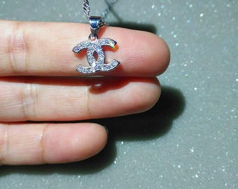 CC earrings necklace 925 silver long chain charm bead  silver