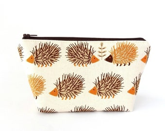 Cute makeup bag, Hedgehog gift for her, Small make up pouch with zipper, Fully lined, Brown or blue and orange, Twin girl gifts