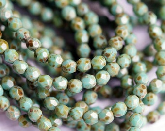 Turquoise Picasso - 4mm Fire Polished Beads - Czech Glass Faceted Rounds - Bead Soup Beads