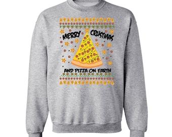Merry Crustmas and Pizza on Earth Christmas Ugly Sweatshirt