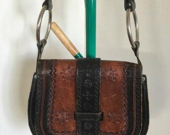 70's Tooled Leather Bag, Black and Burnt Caramel, Silver Hardware, Adjustable Strap, Size Medium
