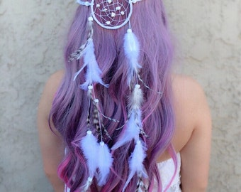 White Dreamcatcher Feather Headband - White Natural Feathers - Festival Headband - Party Headband - Bohemian Wedding - Boho