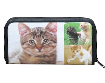 Large zip wallet for cat lovers, FREE SHIPPING, quality well made good material materials constructed cats loves pet pets owner sister who