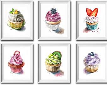 Set of 6 prints, cupcake prints, wall decor