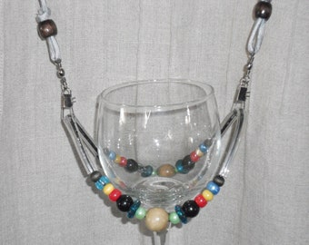 Beaded Wine Glass Necklace/Holder