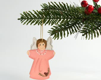 Angel Hand Painted Ornament  pink dress