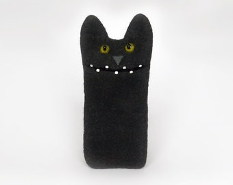 Black Cat case for iPhone 7, for iPhone 7 Plus, Cat lover gift, Felt Wool cover