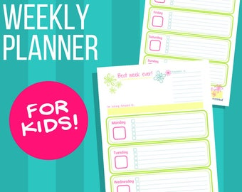 Weekly Planner for Kids: Bright Floral Theme, Printable weekly calendar for children