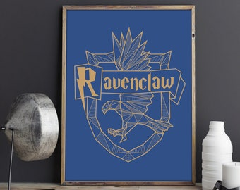 Ravenclaw Crest Poster, Harry Potter Decor, Hogwarts Wall Art, Harry Potter Ravenclaw Print, Harry Potter Gift, Geek Decor