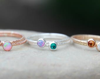 STACKING BIRTHSTONE RING - Mother's Ring - Gemstone Ring - birthstone ring - stackable rings - rose gold - yellow gold - sterling silver