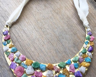 rocky golden chest plate with multi-color agate nuggets