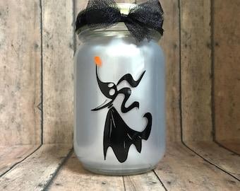Nightmare Before Christmas inspired Zero lantern, 16 oz, pint size mason jar, halloween, tea light included