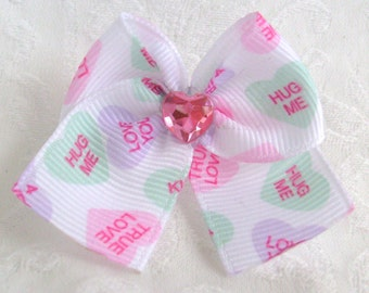 Sweetheart Dog Bow in Conversation hearts