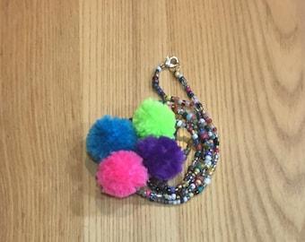 Colorful Pompom necklace