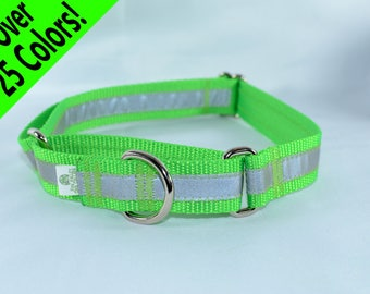 Reflective Martingale Dog Collar - 27 colors - any size - MADE to ORDER