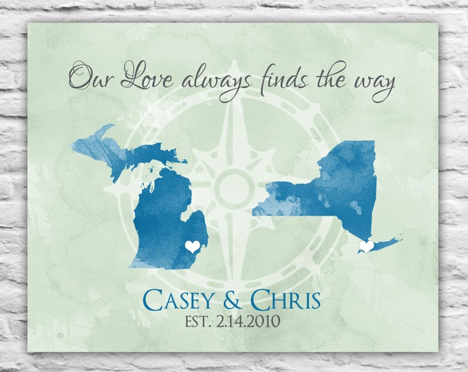 Long Distance Love - Wall Art Print Canvas 8x10, Long Distance Love, State Map, Fiance, Long Distance Boyfriend Gift, Girlfriend, Birthday