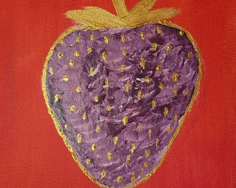Original art by craigjrich via cjartbycraig  Purple strawberry part of project fruity hand painted on canvas