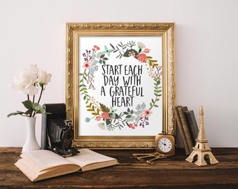 Motivational Wall Art, Start each day with a grateful heart, floral office decor typography inspirational wall decor quote printable art
