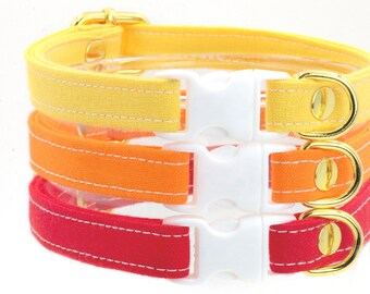 Bright Cat Collars with Breakaway Safety Buckle - Sunny Yellow, Orange, Red - Kitten Size Available