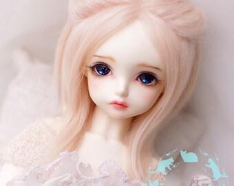 magic unicorn soft light rose pink smoky cotton candy pastel BJD doll fur wig SD MSD yosd