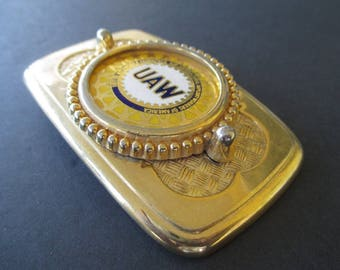 UAW Belt Buckle * Gold Tone * United Auto Workers Buckle