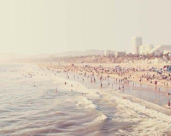 Los Angeles photography, Santa Monica beach photo, pale icy blue foamy waves, summer west coast vacation, California seaside, La La Land