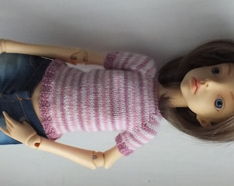 SALE! Doll Chateau Kid MSD Hand-knitted Top pink stripes