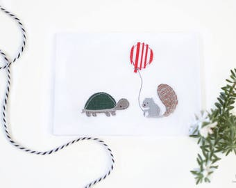 Woodland card, hand sewn greeting card tortoise squirrel, woodland greeting card, hand stitched card, baby gift card, handmade card blank