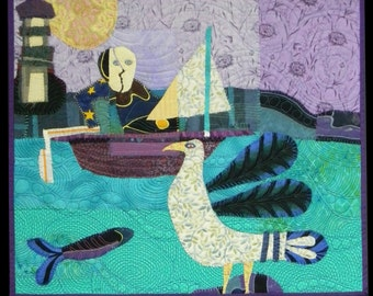 """Quilt art wall hanging. Fabric collage. Textile art.Sailpast   20.5""""x23.5"""""""