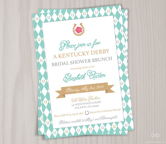 Kentucky Derby Bridal Shower Invitation Bachelorette Garden