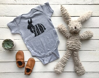 Baby Bunny Bodysuit • Unique Infant Outfit • Hand Lettered Bunny Design • Quirky Fun Illustrated Animal Baby Outfit • FREE SHIPPING