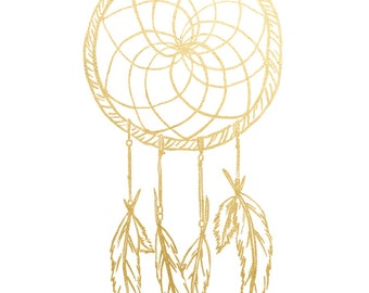 Gold Foil Dream Catcher (8x10 or 5x7), Dream Catcher Wall  Hanging, Nursery art, Tribal Nursery Decor, Tribal Nursery Prints