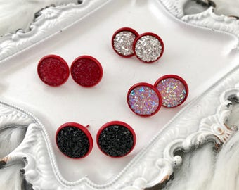 Red Stud Earrings, Black and Red Earrings, Black Druzy Earrings, Druzy Stud Earrings, Druzy Earrings, Stud Earrings, Valentines Day Gifts