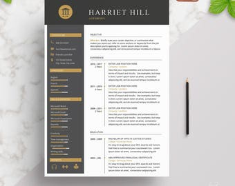 Modern Legal Resume Template | Resume template 2 Page | CV Template + Cover Letter for MS Word | Creative | Instant Download | Mac or PC