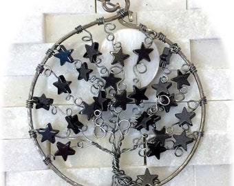 Wire Moon Tree with Stars