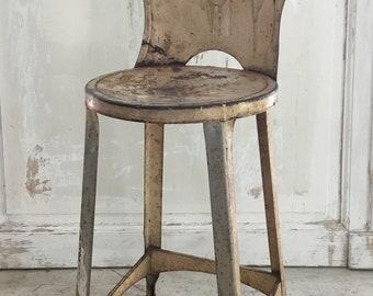 Antique Cream Chippy Painted Metal Stool