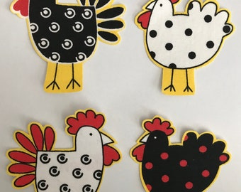 Black, White and Red Chickens - Iron On Fabric Appliques