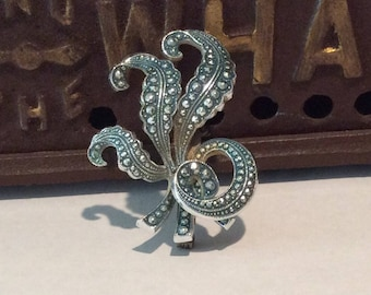 Vintage West Germany Marcasite Leaf Brooch, Faux Marcasite, Curly Leaf , Pin , Signed W Germany, Fern Brooch
