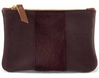 READY TO SHIP: Leather Zip Wallet w/hair on calf stripe (multiple colors)